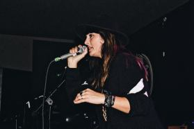 Lucie Barat at the launch party, 11/17 (by Mollie Yates)