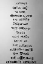 Band list for Issue Two